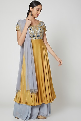 Yellow & Grey Embroidered Anarkali Set by Vyasa By Urvi