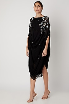 Black Embroidered Cowl Dress by Vyasa By Urvi