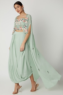 Mint Embroidered Crop Top With Skirt & Cape by Vyasa By Urvi