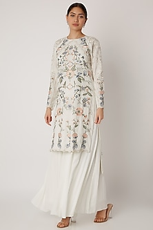 Ivory Embroidered Tunic With Sharara Pants by Vyasa By Urvi