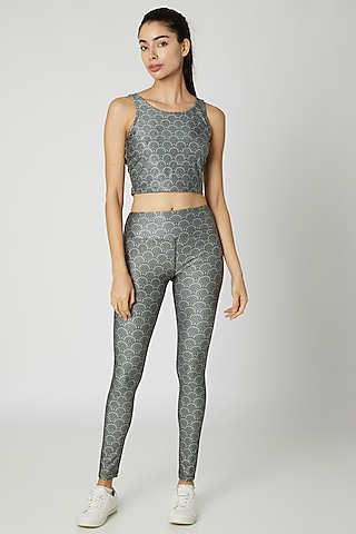 Grey Polyester Printed Leggings by Mira Rae