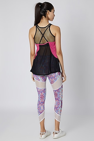 Pink Polyester Tank Top by Mira Rae