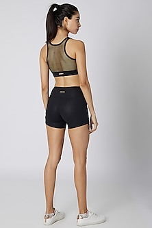 Black Sheen Mantra Shorts by Mira Rae
