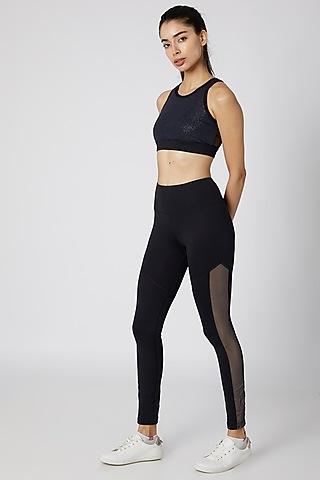 Black Polyester Leggings by Mira Rae