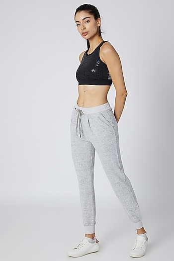 Grey Heathered Frost Jogger Pants by Mira Rae