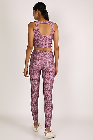 Pink Printed Leggings by Mira Rae