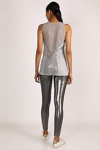 Grey Metallic Leggings by Mira Rae