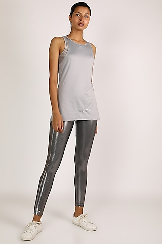 Grey Polyester Top by Mira Rae