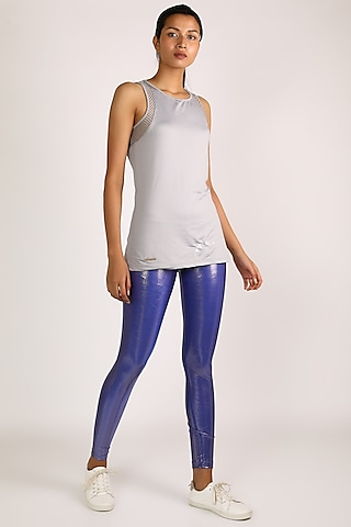 Cobalt Blue Metallic Leggings by Mira Rae