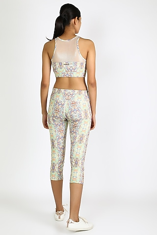 White Printed Capri Pants by Mira Rae