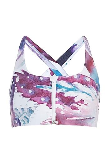 White printed zipper sports bra by Mira rae