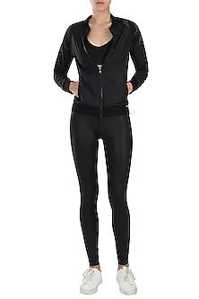 Black lace bomber jacket by Mira rae