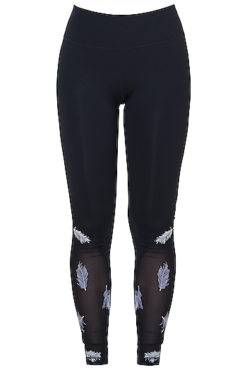 Black embroidered mesh leggings by Mira rae