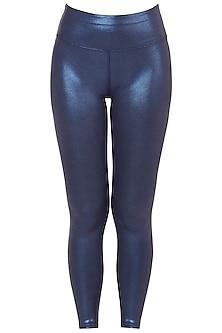 Blue metallic leggings by Mira rae