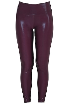 Wine metallic leggings by Mira rae