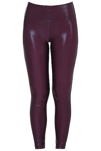 Wine metallic leggings by Mira rae