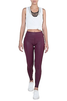 Wine sheen leggings by Mira rae
