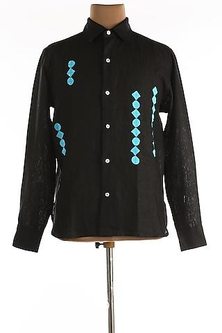 Black Linen Shirt by Wendell Rodricks Men