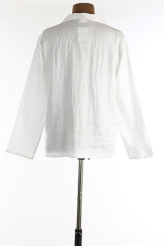 White Linen Shirt With Full Sleeves by Wendell Rodricks Men
