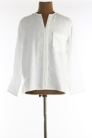 White Full Sleeves Shirt by Wendell Rodricks Men