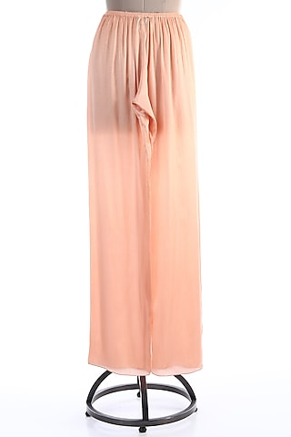 Peach Satin Palazzo Pants by Wendell Rodricks