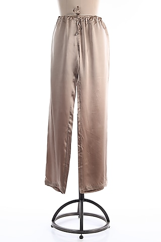 Beige Drawstring Trousers by Wendell Rodricks Men