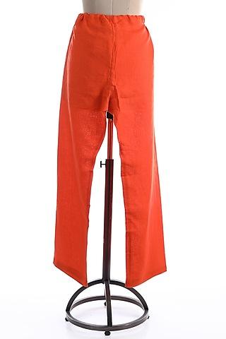 Orange Drawstring Trousers by Wendell Rodricks Men