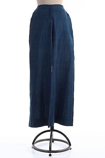 Navy Blue Malkha Cotton Palazzo Pants by Wendell Rodricks