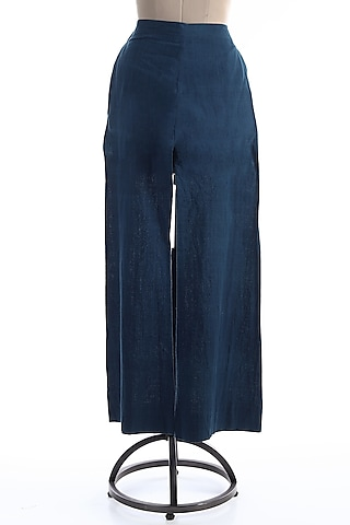 Navy Blue Malkha Cotton Palazzo Pants by Wendell Rodricks