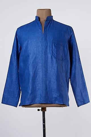 Blue Linen Shirt by Wendell Rodricks Men