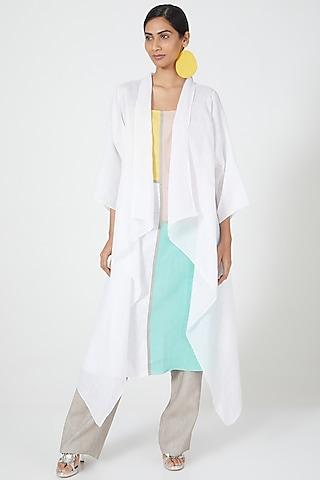 White Asymmetric Cut Overshirt by Wendell Rodricks