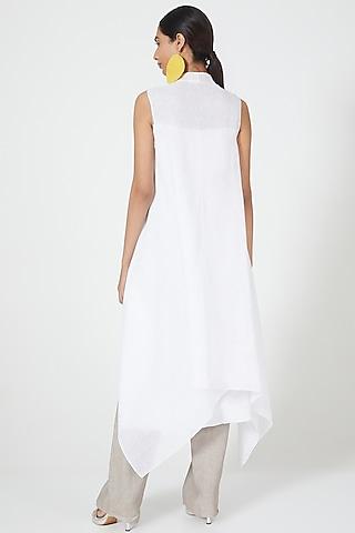 White Overshirt With Waterfall Drape by Wendell Rodricks