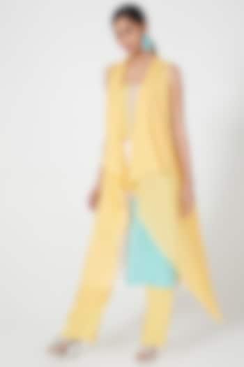 Yellow Overshirt With Waterfall Drape by Wendell Rodricks