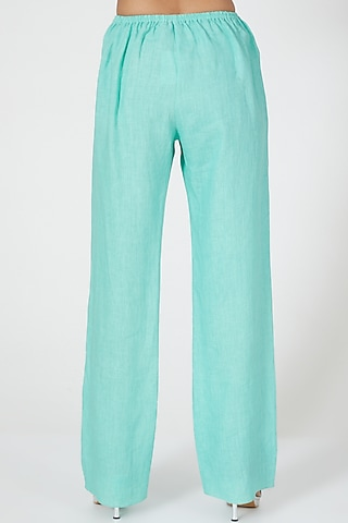 Mint Wide Legged Pants by Wendell Rodricks
