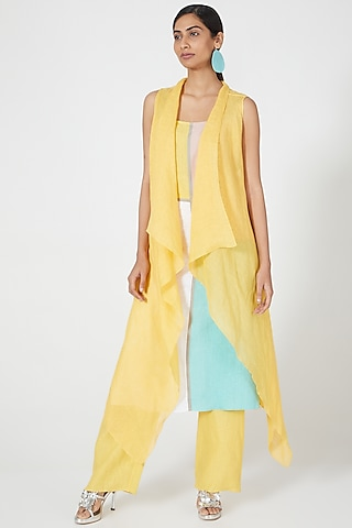 Yellow Wide Legged Pants by Wendell Rodricks