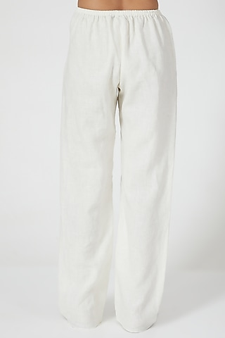 Ivory Wide Legged Pants by Wendell Rodricks
