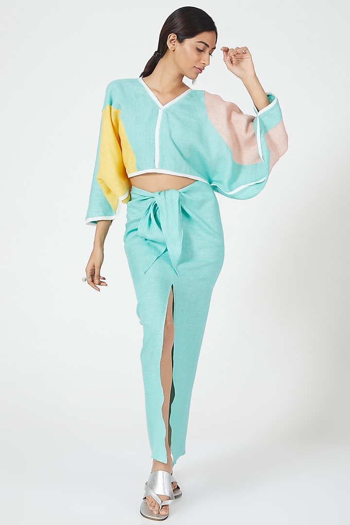 Mint Wrapover Sarong by Wendell Rodricks