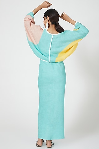 Mint Top With Color Blocking by Wendell Rodricks