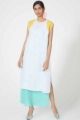 Ivory Colour Blocked Layered Dress by Wendell Rodricks