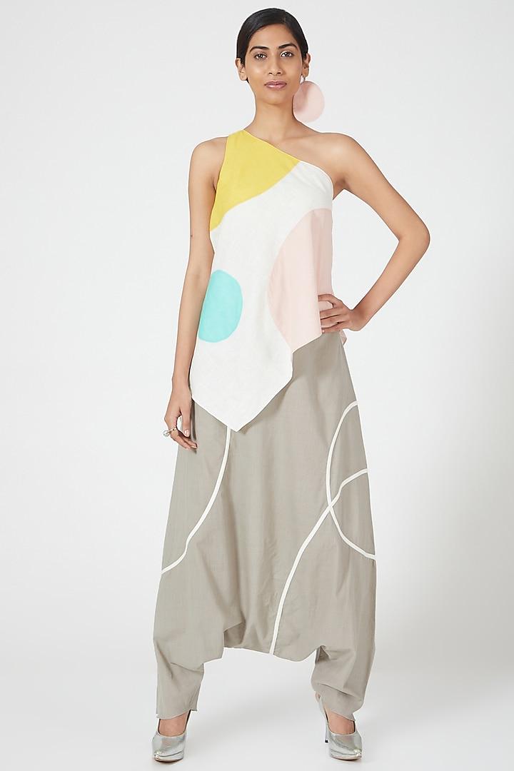 Multi Coloured One Shoulder Flared Top by Wendell Rodricks