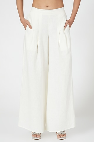 Ivory Linen Wide Legged Palazzo Pants by Wendell Rodricks