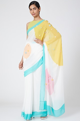 Multi Colored Pastel Embroidered Saree by Wendell Rodricks