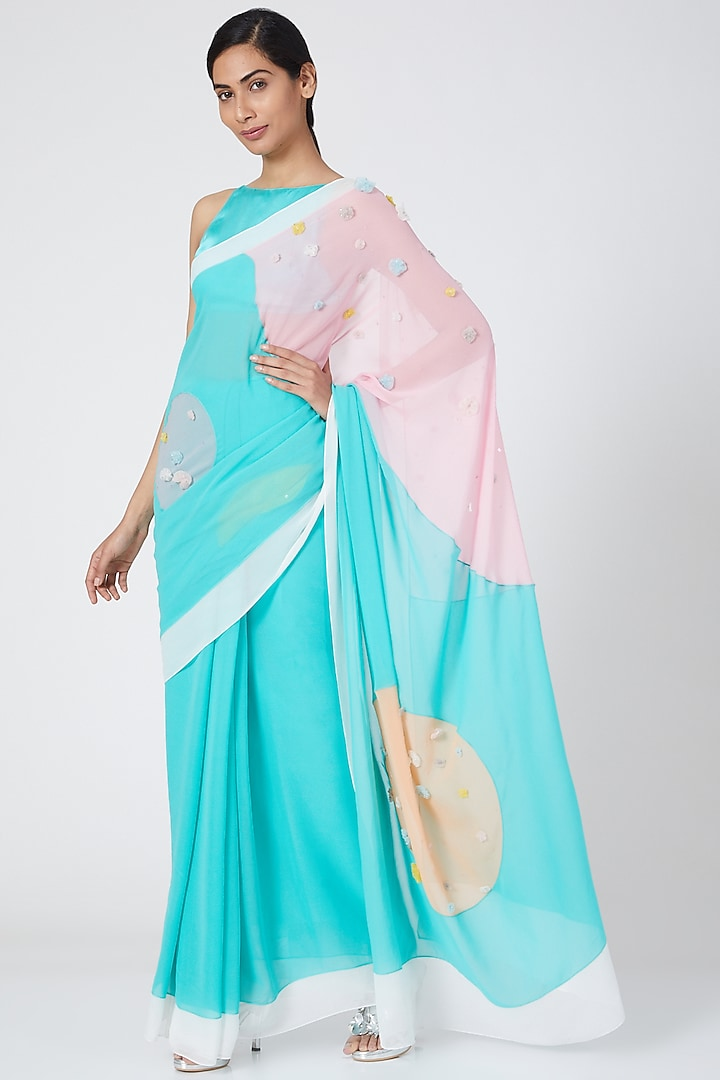 Multi Colored Pastel Saree With Embroidery by Wendell Rodricks
