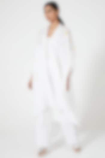 Ivory Embroidered Asymmetrical Cape by Wendell Rodricks