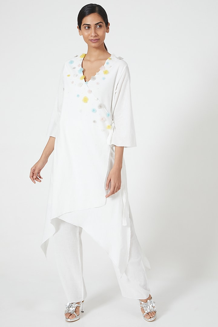 Ivory Embroidered Wrap Tunic by Wendell Rodricks