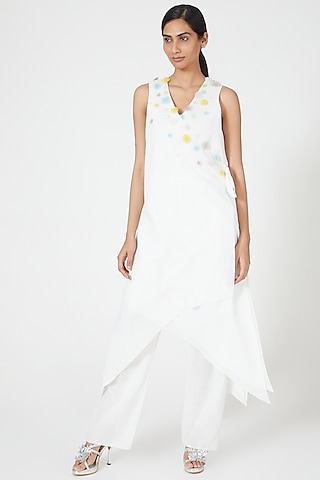 Ivory Wrap Tunic With Embroidery by Wendell Rodricks