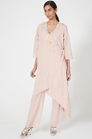 Pink Embroidered Wrap Tunic by Wendell Rodricks