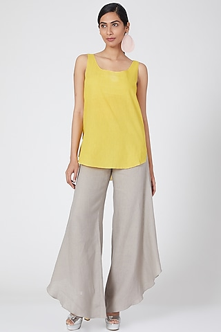 Yellow Cotton Cami Top by Wendell Rodricks