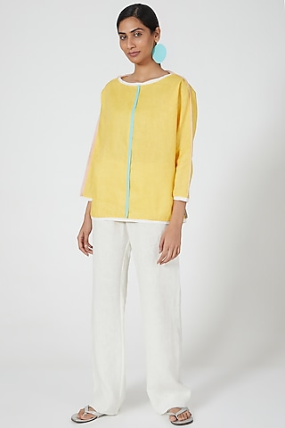 Yellow Linen Top With Contrast Piping by Wendell Rodricks