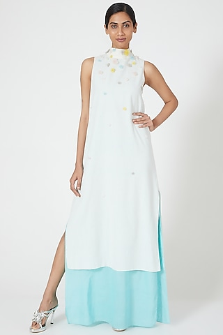 Ivory Embroidered & Layered Dress by Wendell Rodricks